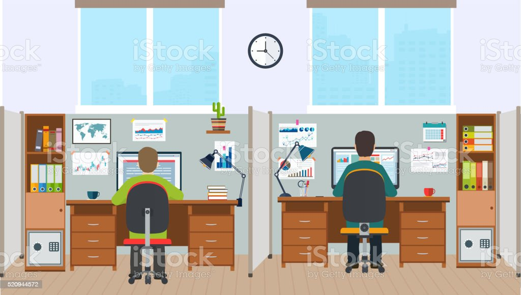 Workstation, office interior with employees. vector art illustration