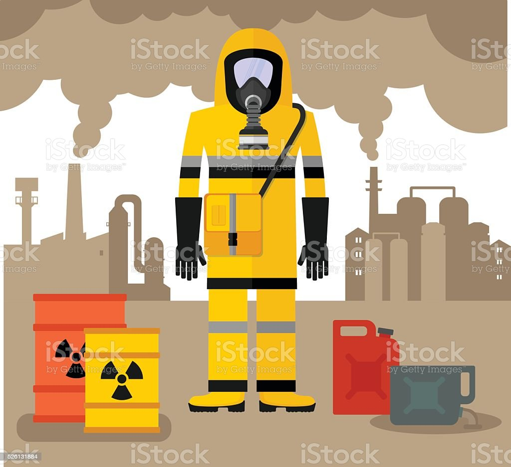 workwear man in gas mask vector art illustration