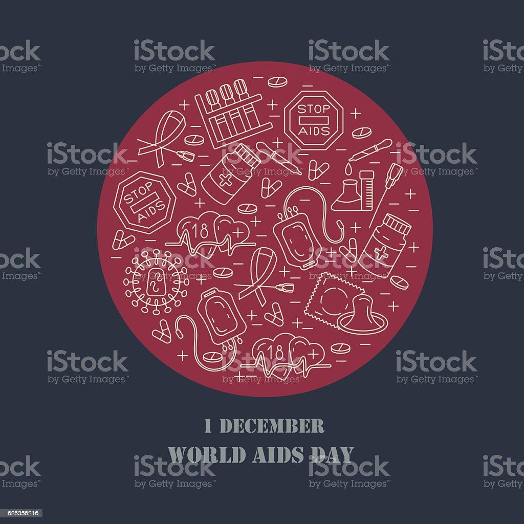 World Aids Day concept vector art illustration