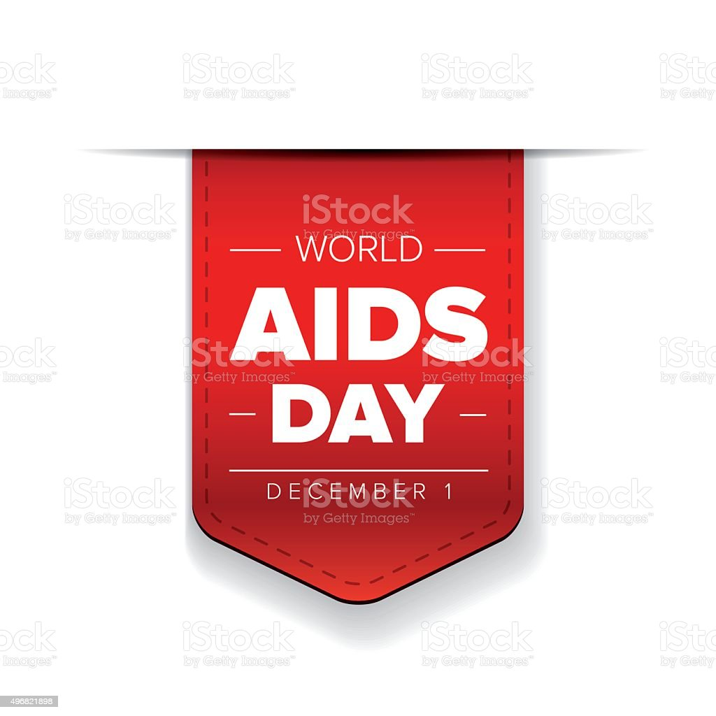 World AIDS Day - December 1 red ribbon vector art illustration