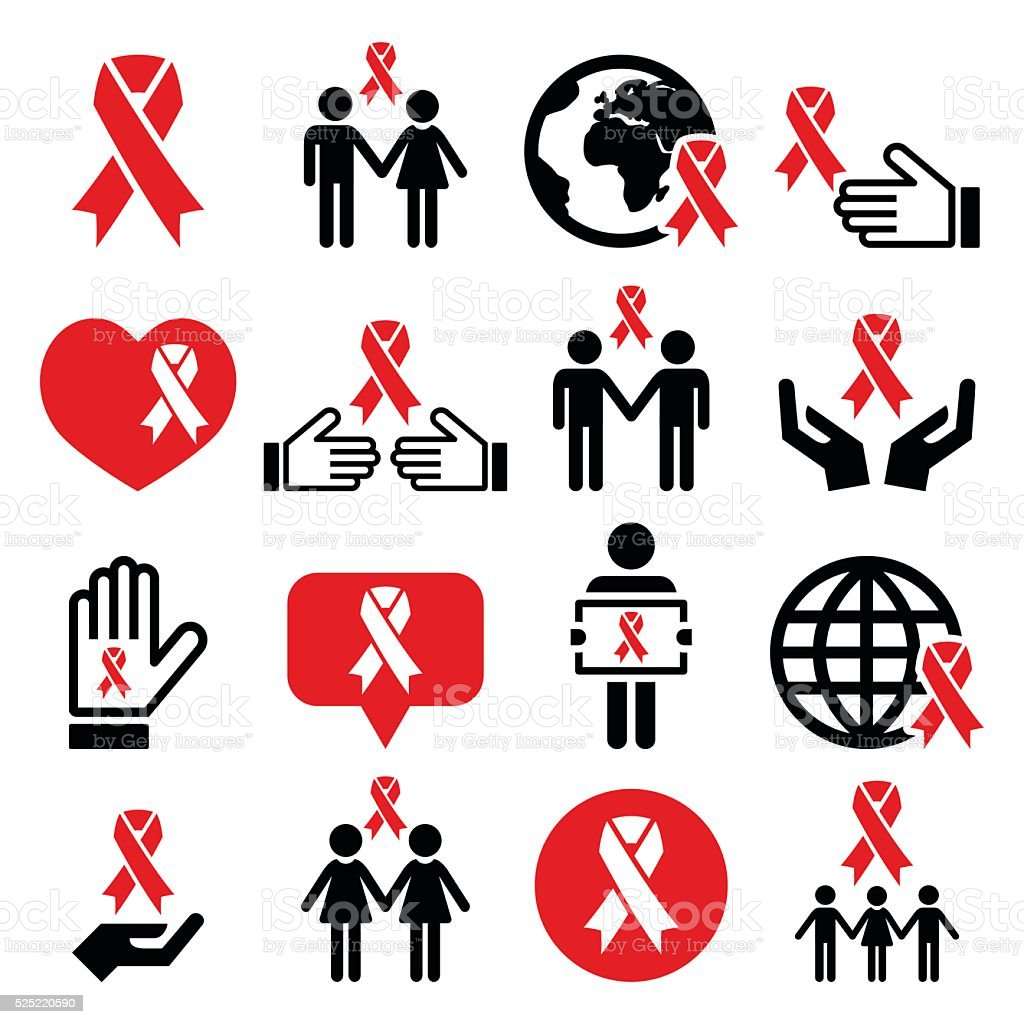 World AIDS Day icons set - red ribbon symbol vector art illustration