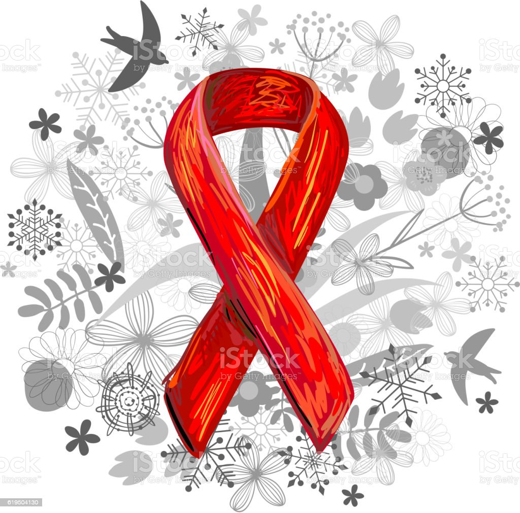 World AIDS Day. Red Awareness Ribbon and floral background vector art illustration