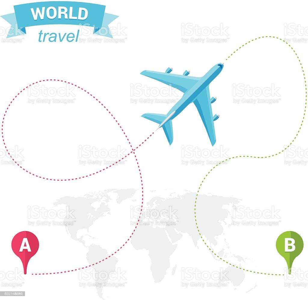 World air travel vector art illustration