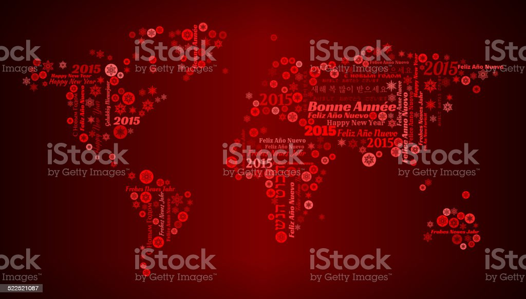World and New Year Celebration on Red Background vector art illustration