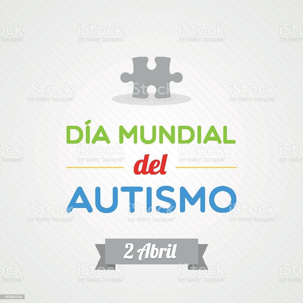 World Autism Day in Spanish vector art illustration