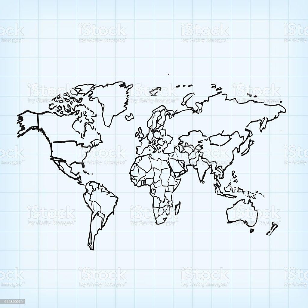 World black map scribbled on light blue grid background vector art illustration