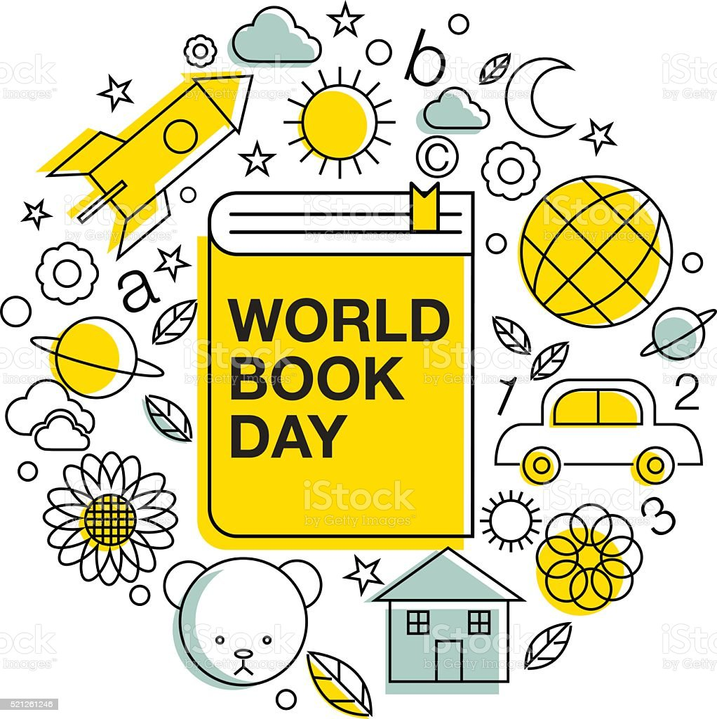 world book and copyright day, logo , icon vector art illustration