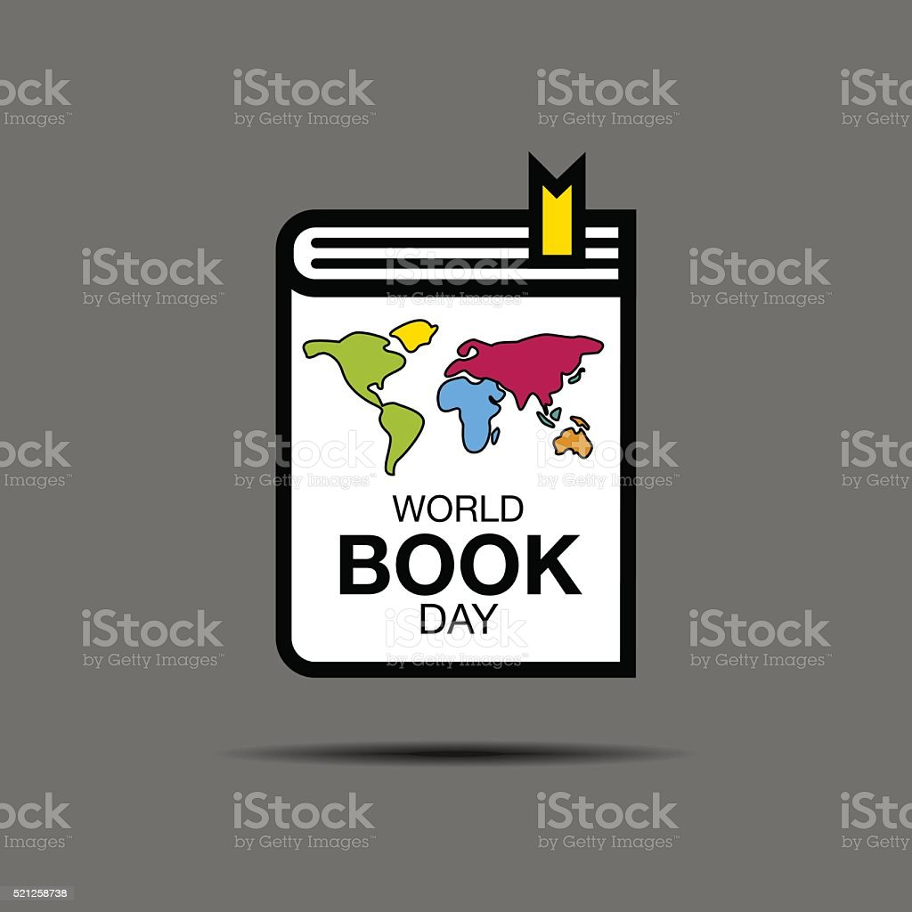 world book and copyright day vector art illustration