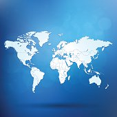World bright map with shadow on blue gradient background square