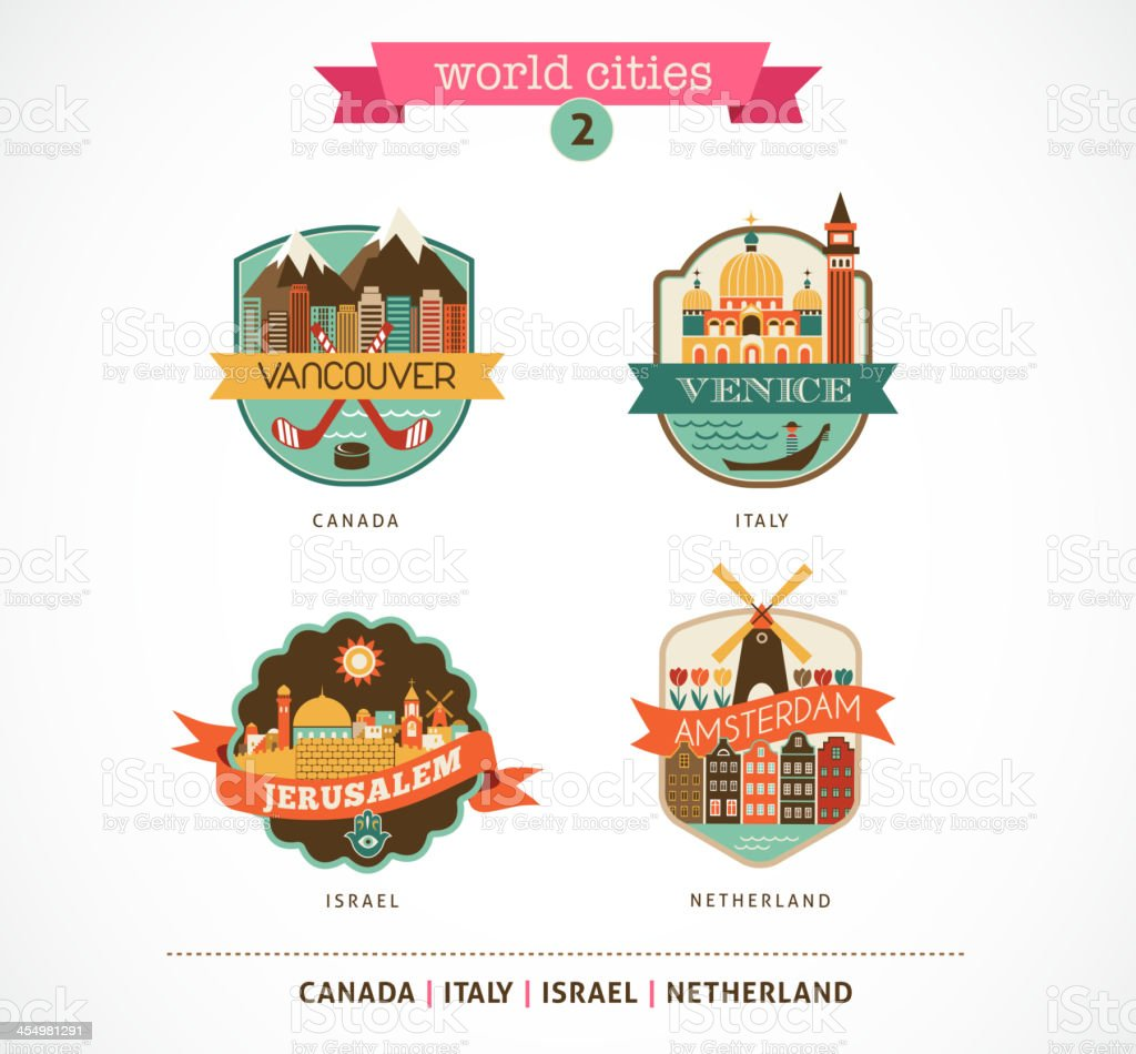 World Cities - Amsterdam, Venice, Jerusalem, Vancouver vector art illustration
