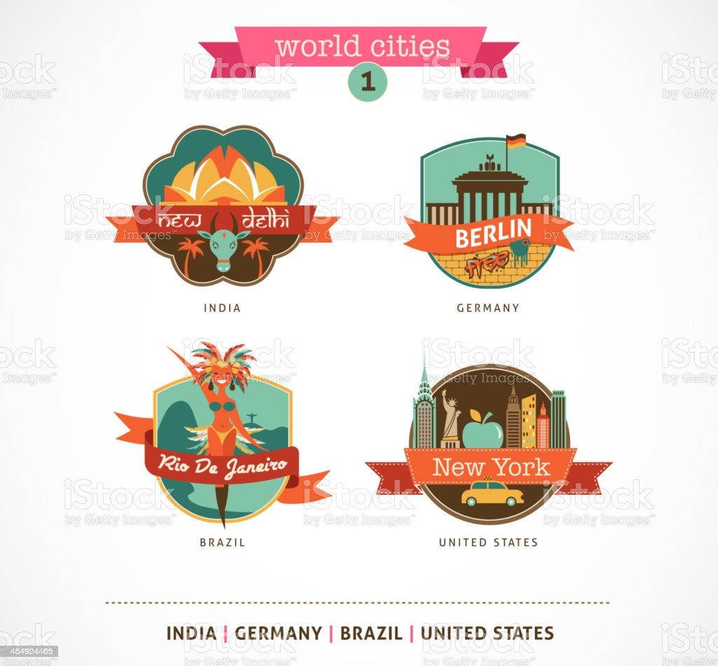 World Cities labels - Delhi, Berlin, Rio, New York vector art illustration