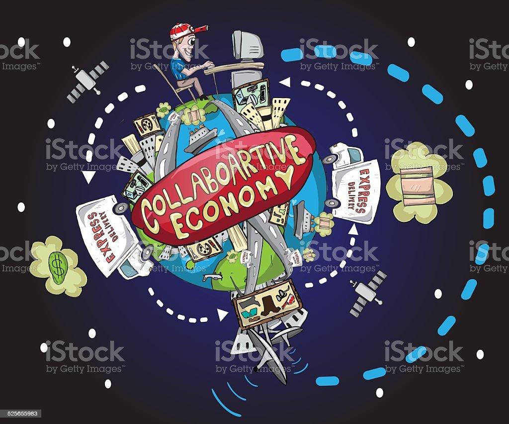 World collaborative economy illustration vector art illustration
