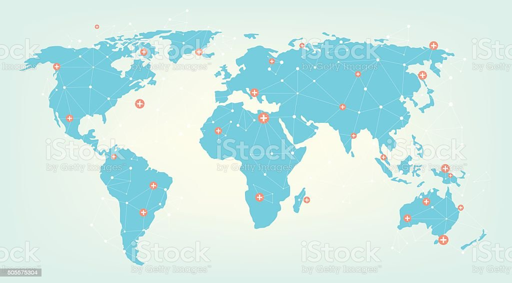 World connected vector art illustration