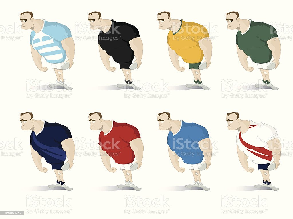 World cup rugby player vector art illustration