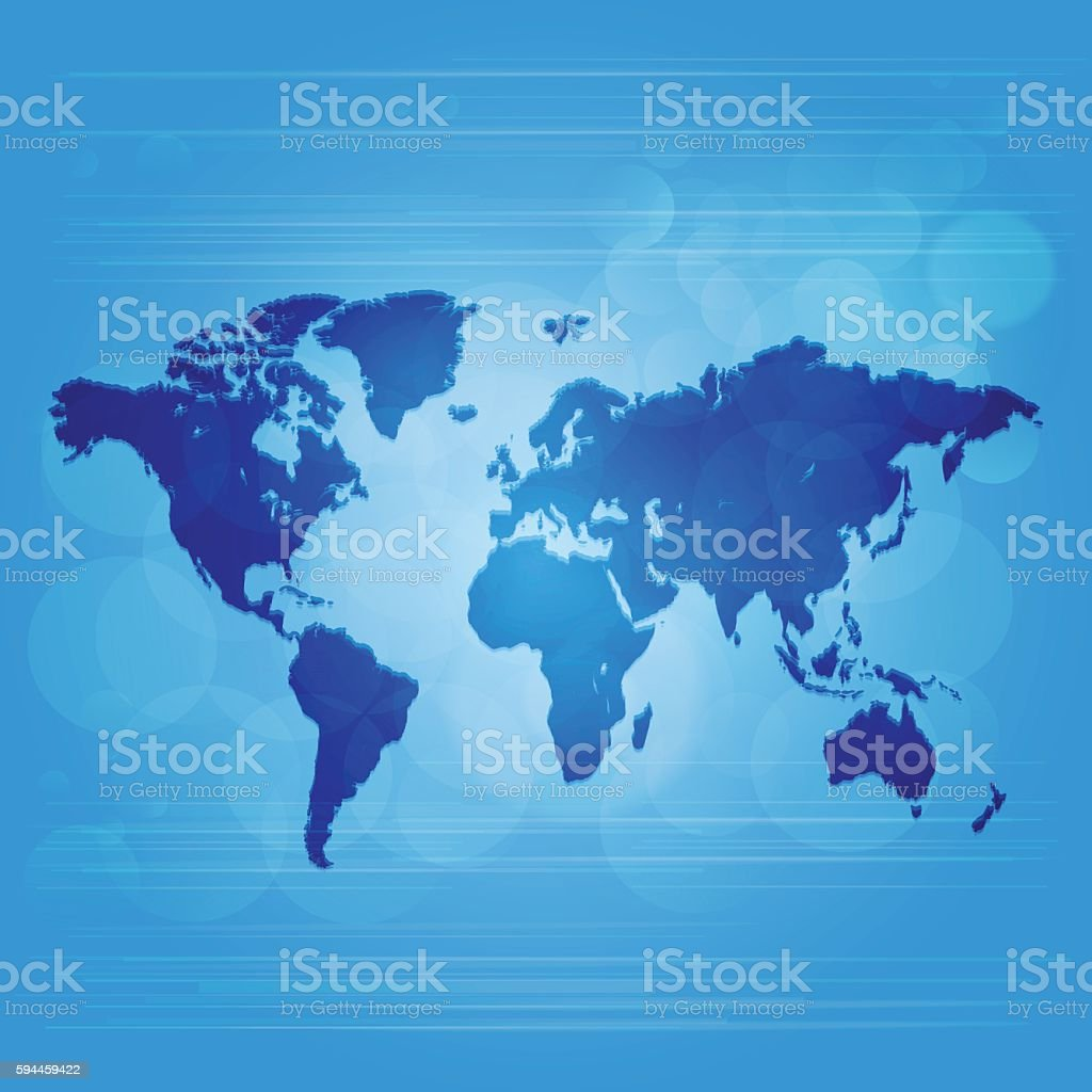 World dark and light map with light blue glowing background vector art illustration