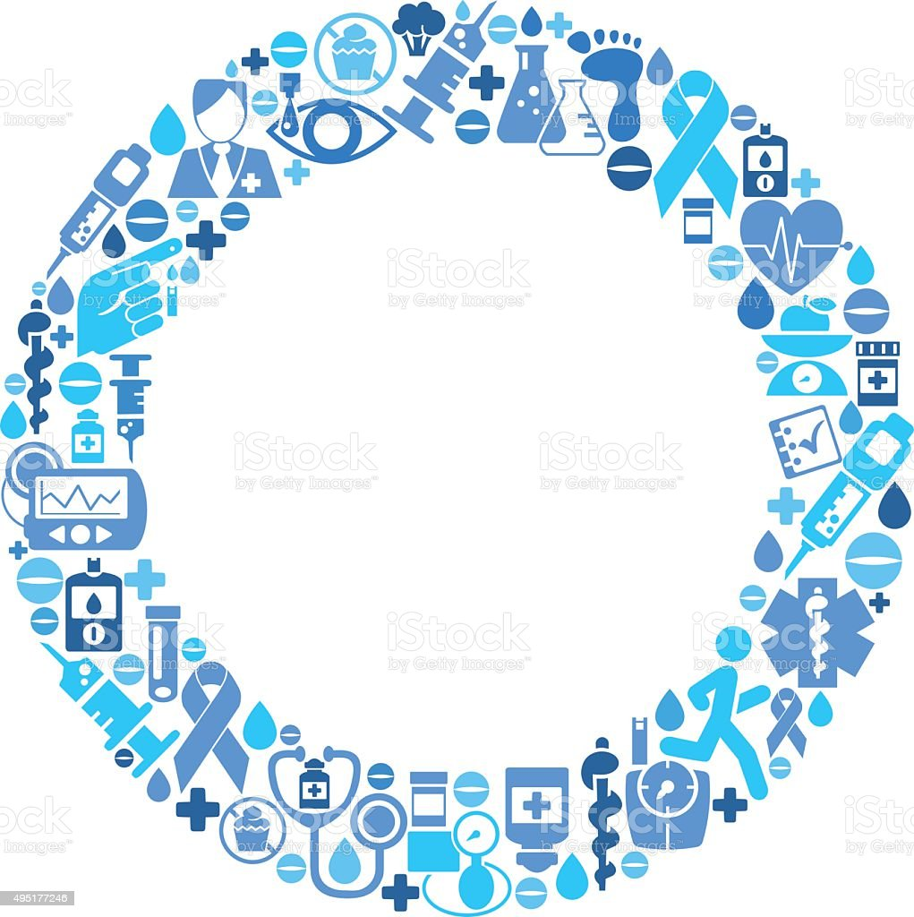 World Diabetes Day - Blue Circle made of Medical Icons vector art illustration