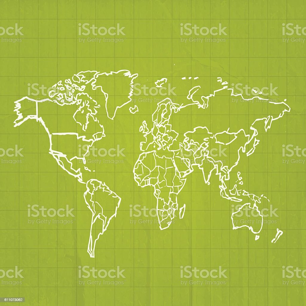 World earth map green olive colors scribbled on cardboard vector art illustration