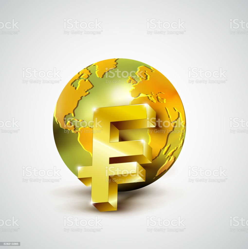 World economic concept with 3d gold world and franc currency vector art illustration
