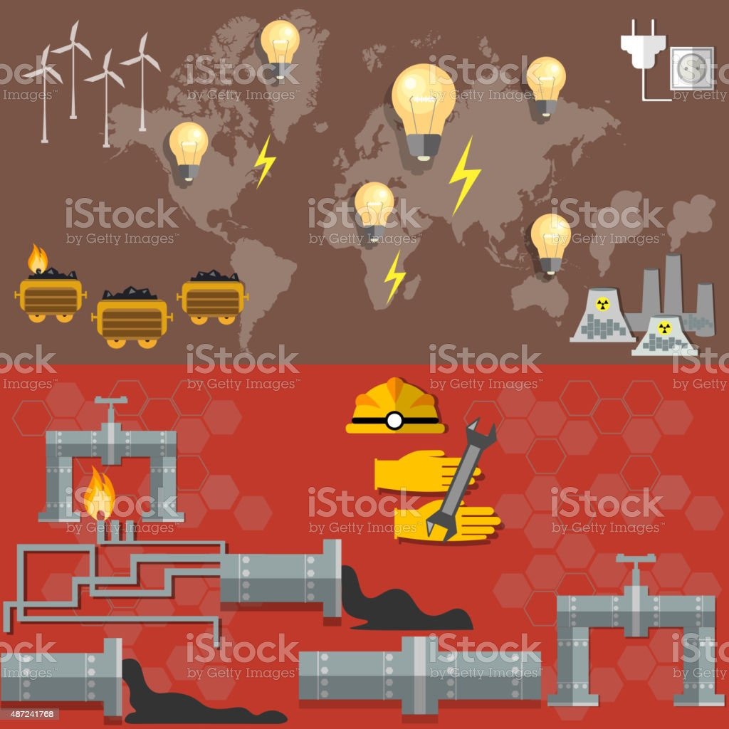 World energy , oil production, nuclear plants, fuel fabrication vector art illustration