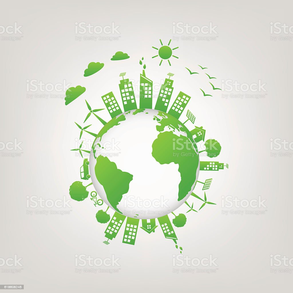 World Environment and green city vector art illustration