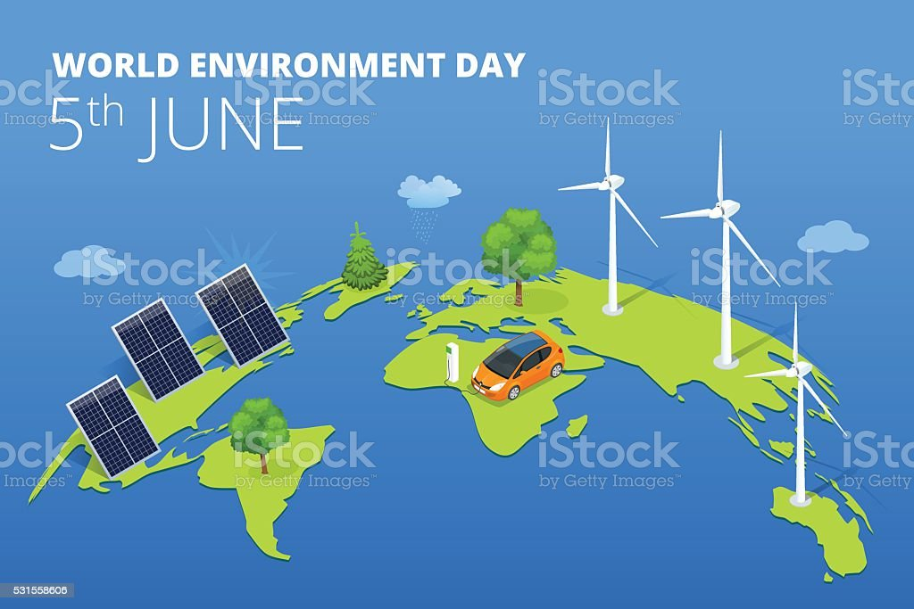 World environment day concept vector art illustration