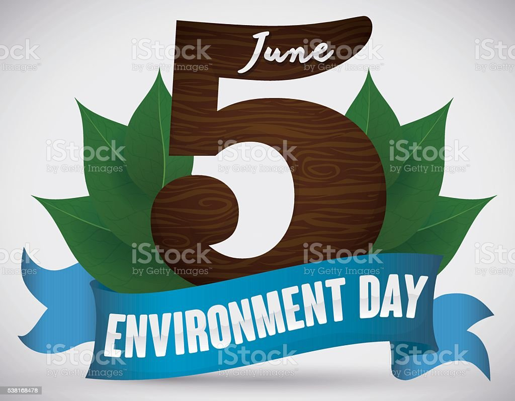 World Environment Day Poster with Leaves and Ribbon vector art illustration