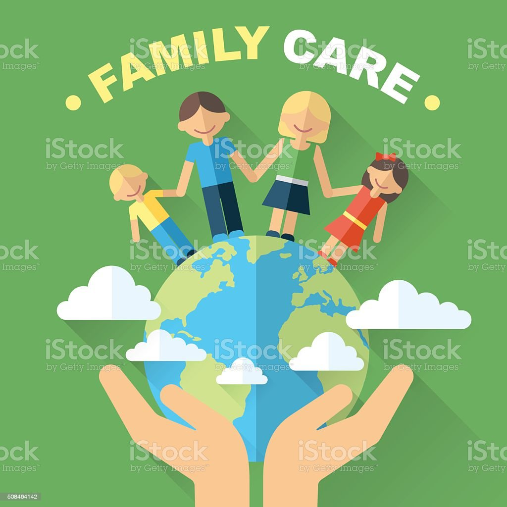 World family vector art illustration