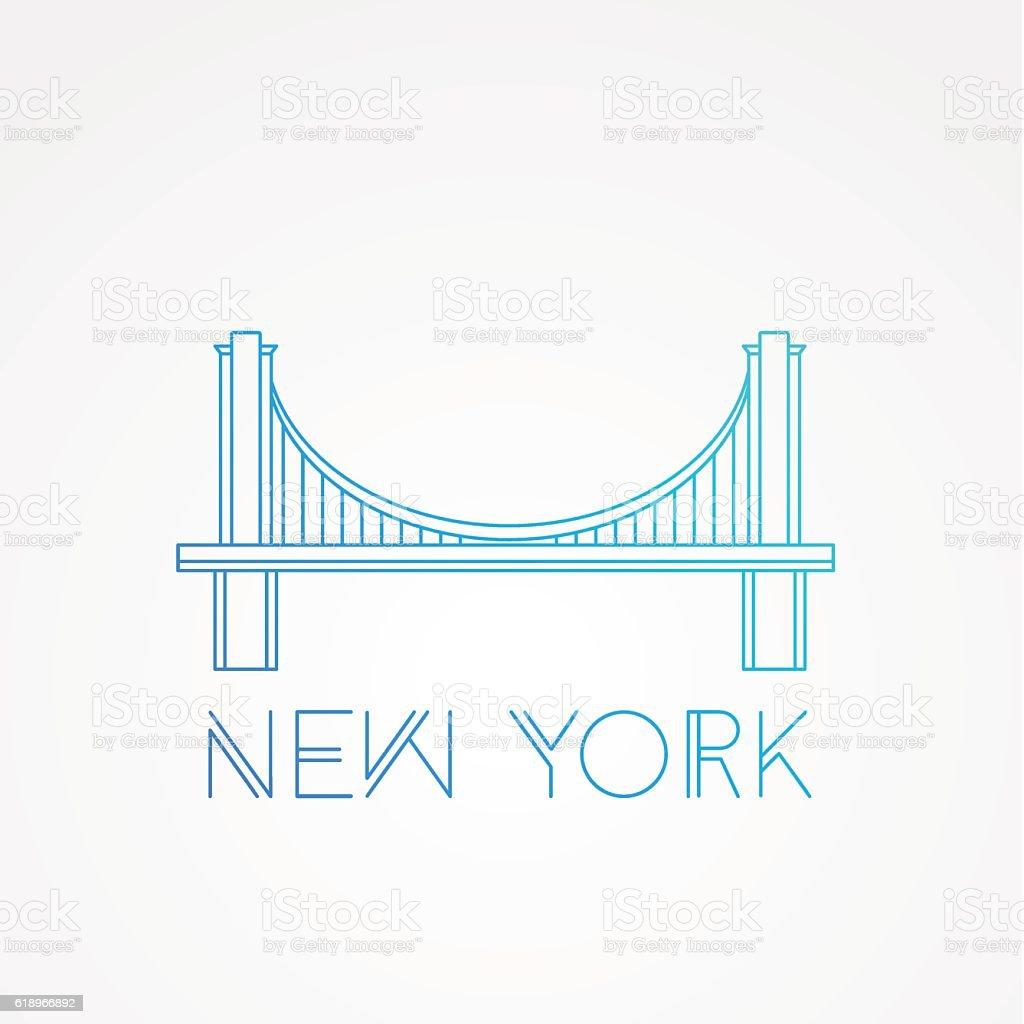 World famous Brooklyn Bridge vector art illustration