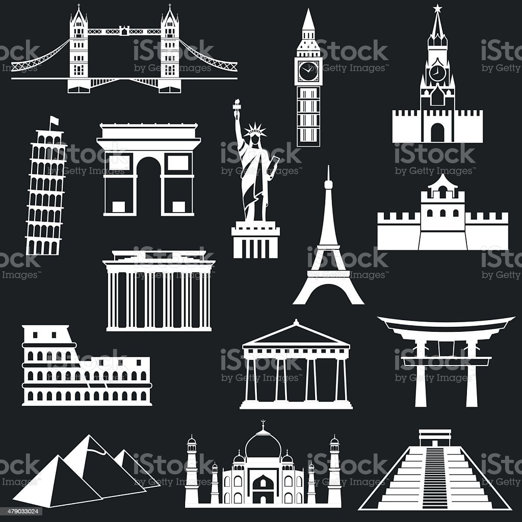 World famous buildings abstract silhouettes vector art illustration