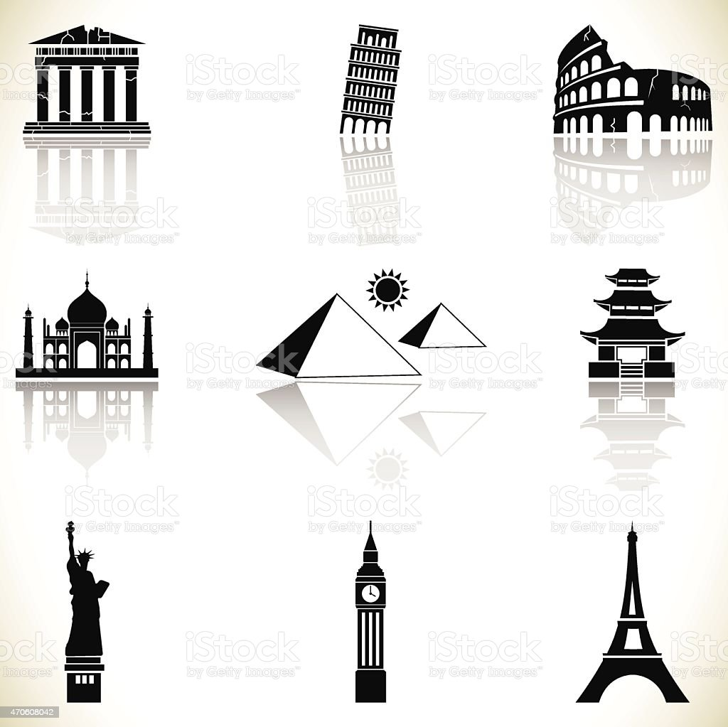 World famous buildings vector art illustration