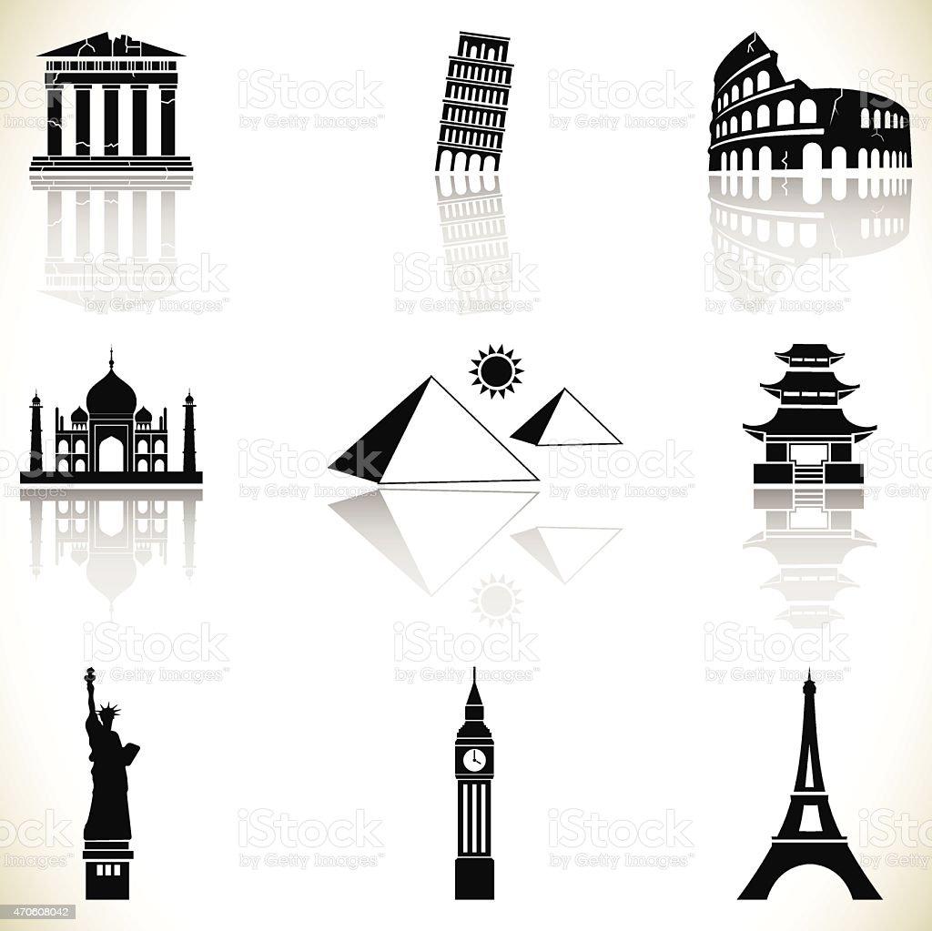World famous buildings vector art illustration