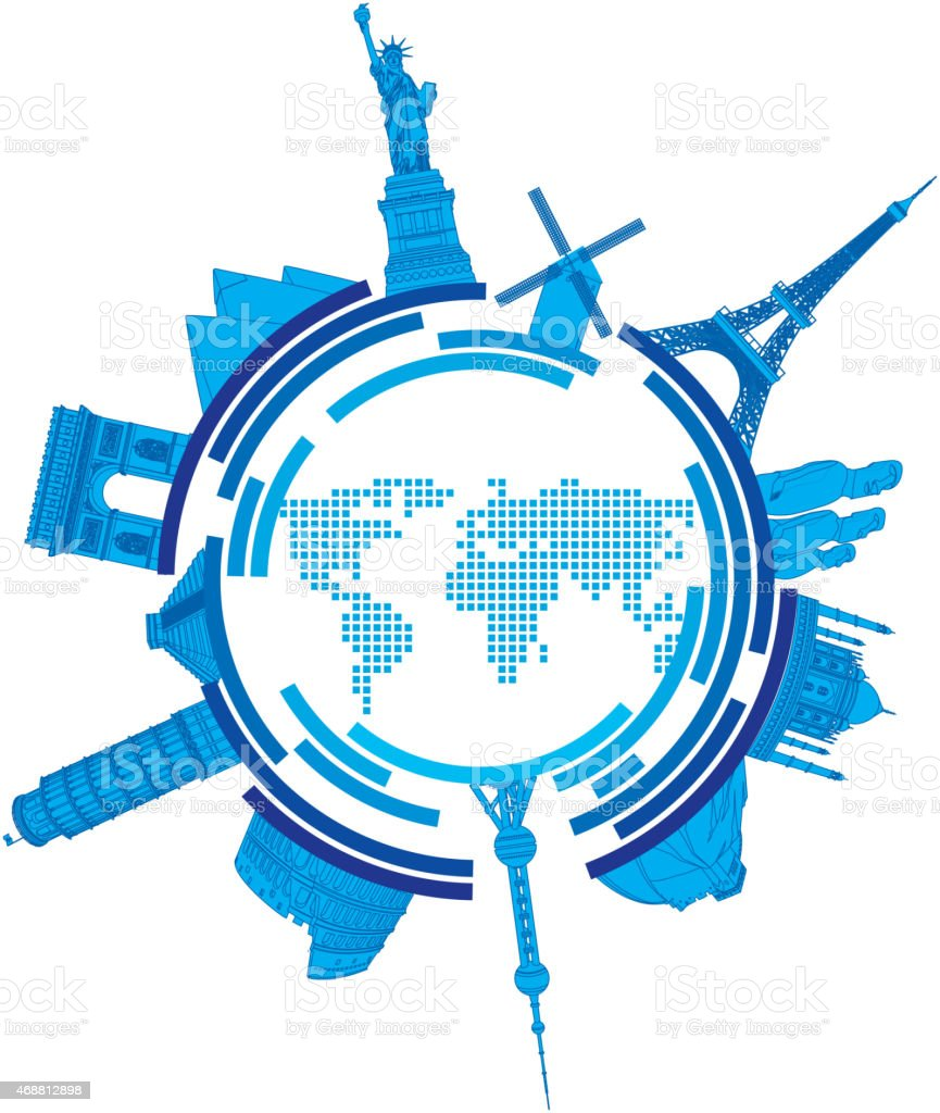 World famous lankmark vector art illustration