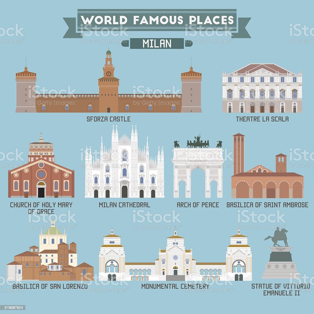 World Famous Place. Italy. Milan vector art illustration