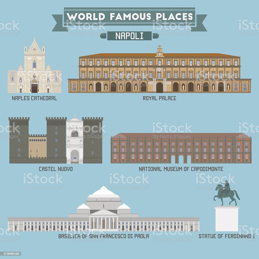 World Famous Place. Italy. Napoli. Geometric icons of buildings vector art illustration