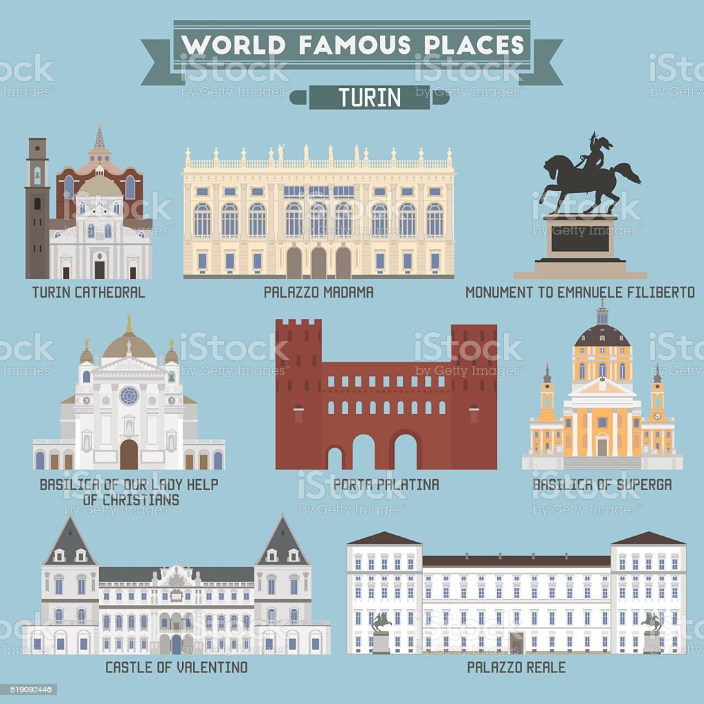 World Famous Place. Italy. Turin. Geometric icons of buildings vector art illustration