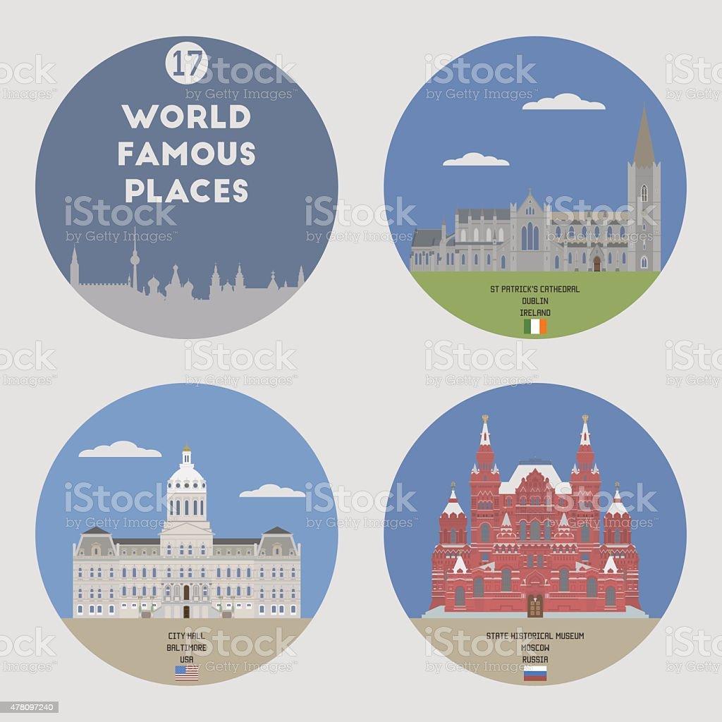 World famous places. Set 17 vector art illustration