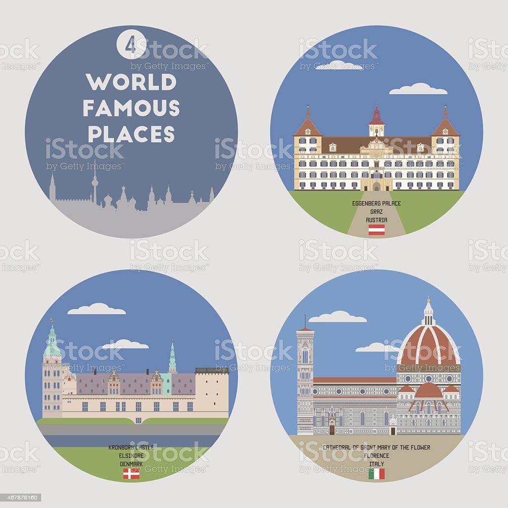 World famous places vector art illustration
