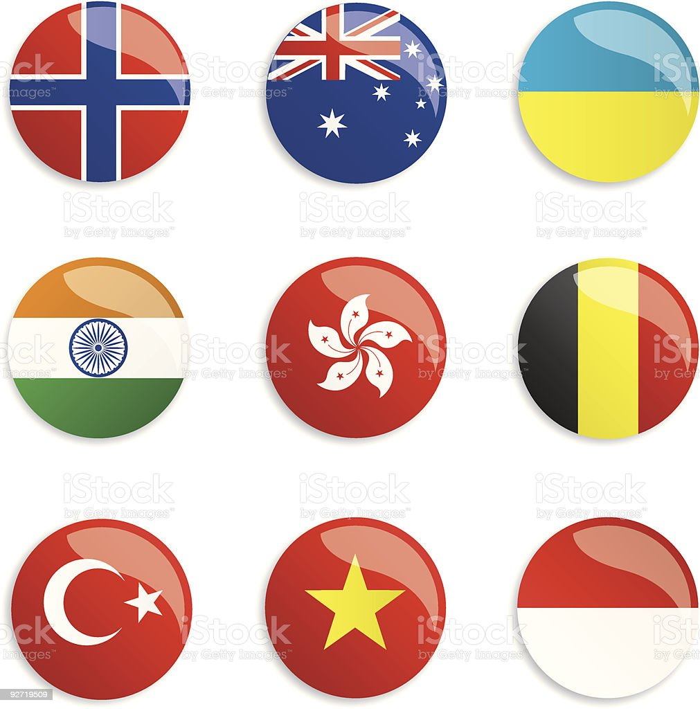 World Flag Buttons royalty-free stock vector art