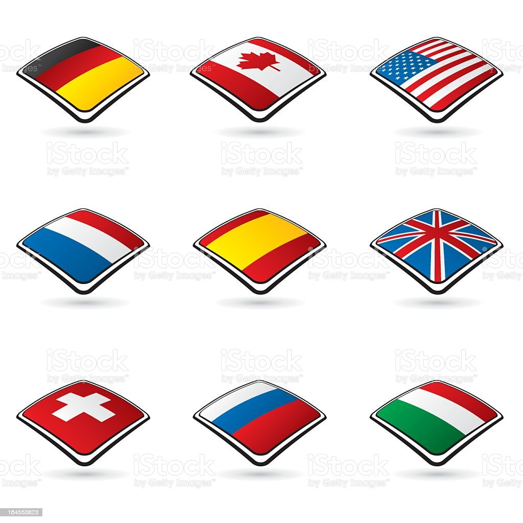 World flags collection A 1/10 royalty-free stock vector art