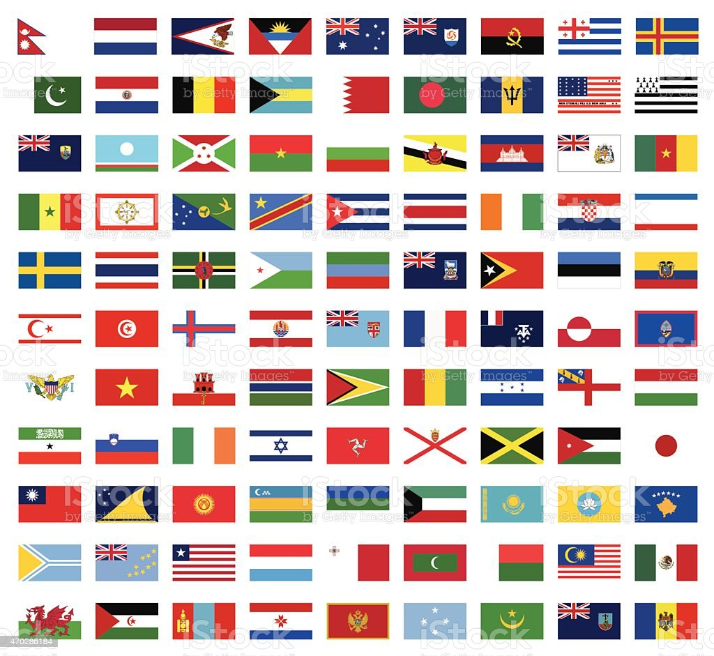World flags collection vector art illustration