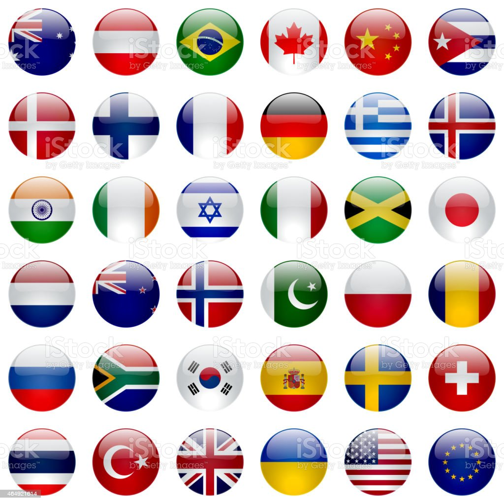 World Flags Icon Set vector art illustration