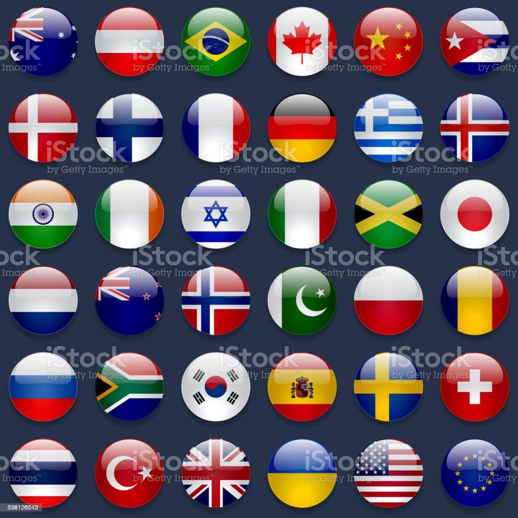 World Flags Icon Set vector art illustration