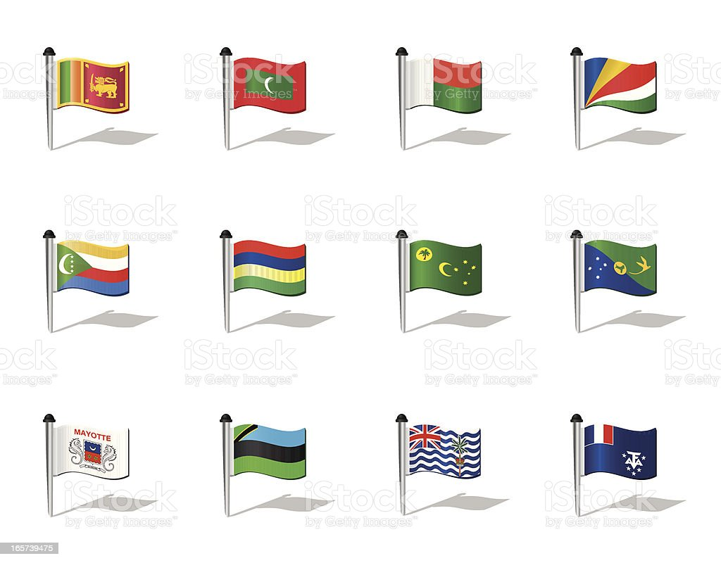 World Flags: Indian Ocean States royalty-free stock vector art