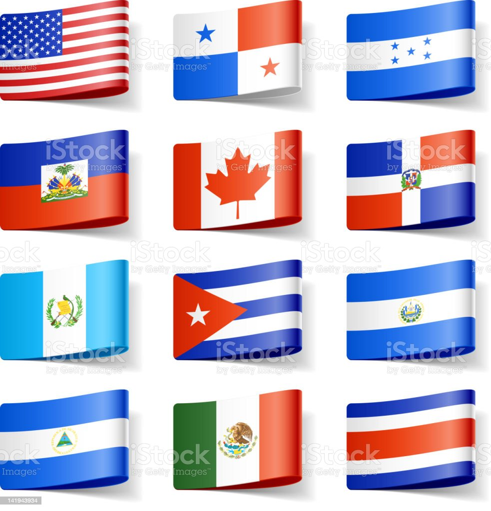 World flags. North America. royalty-free stock vector art