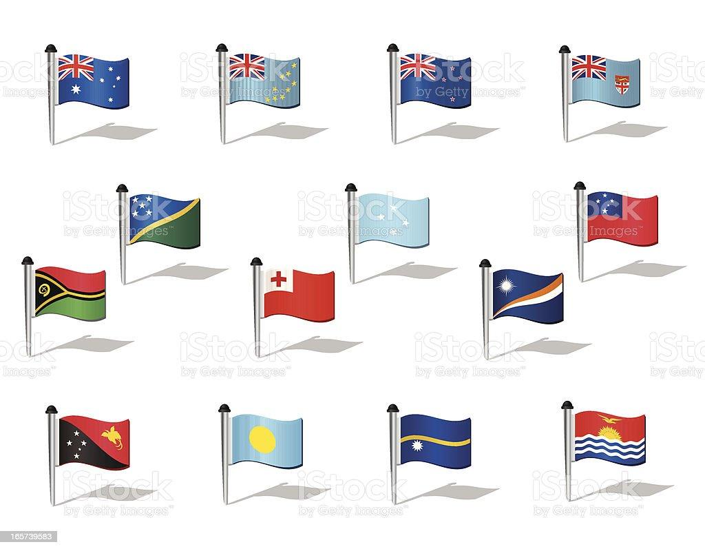 World Flags: Oceania vector art illustration