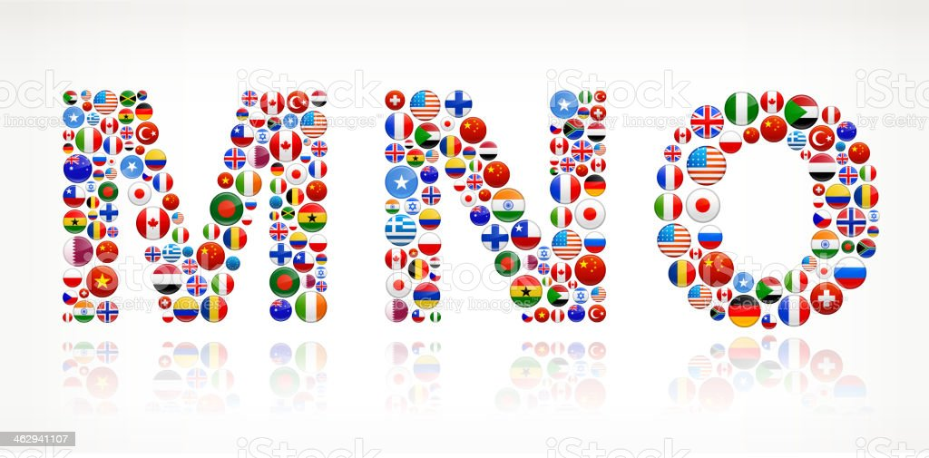 MNO with World Flag Buttons vector art illustration