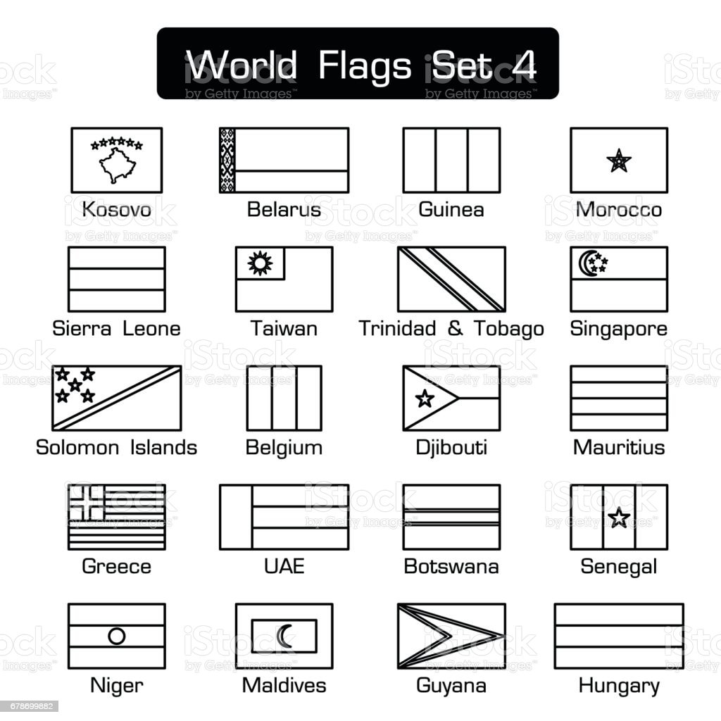 World flags set 4 . simple style and flat design . thick outline . vector art illustration