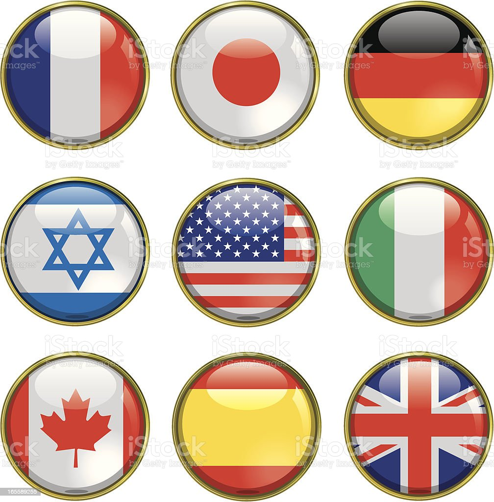 World Flags Shiny Spheres royalty-free stock vector art