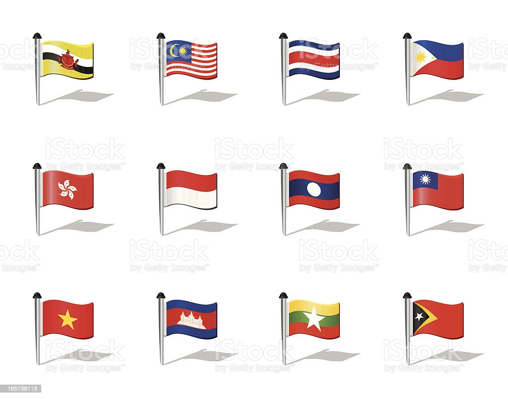 World Flags: South East Asia royalty-free stock vector art