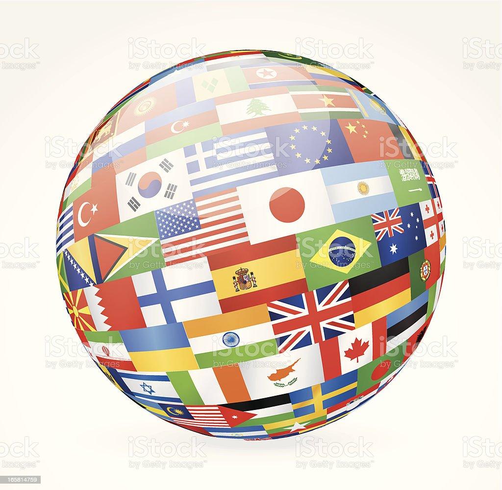 World flags sphere vector art illustration